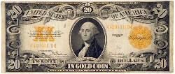 שטר של עשרים דולר, המבטיח למחזיקו את תמורתו בזהב, ארצות-הברית, 1922