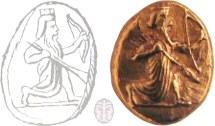 """דרכמון של דריוש מלך פרס (521-486 לפנה""""ס), המתאר את """"המלך הגדול"""" כורע על ברכיו, כשהוא מחזיק בקשת ובחנית"""