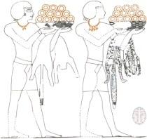 """ציור קיר מצרי, המתאר את אנשי נוביה המעלים מנחות בצוחרת טבעות זהב, 1400 לפנה""""ס לערך"""
