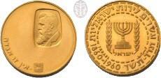 """מטבע הזהב הראשון שהוטבע במדינת ישראל, תש""""ך (1960), הנושא את דיוקנו של חוזה המדינה, תיאודור הרצל"""