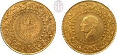 """""""מטבע דה-לוקס"""" (נועד למטרות ייצוג), תורכיה, 1947. נושא את דיוקנו של מוסטפה כאמל פשה, לימים אטטורק, נשיאה הראשון של הרפובליקה התורגית החדשה שנוסדה ב-1923"""