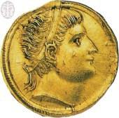 סולידוס מימי הקיסר הרומי קונסטנטינוס (308-337 לספירה), ניקומדיה, ועליו דיוקן עטור נזר