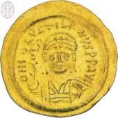 סולידוס מימי הקיסר יוסטיניאנוס השני (565-578 לספירה), המתאר בהפשטה את דיוקנו של הקיסר