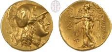 """סטטר מימי אלכסנדר מוקדון (323-336 לפנה""""ס), המתאר בצדו האחד את ראשה של האלה אתנה ובצדו השני את ניקה, אלת הניצחון"""