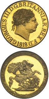 ג'ורג' III, מטבע סוברין קשוט, 1818