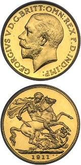 ג'ורג' V, מטבע סוברין קשוט, 1911